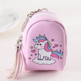 Cartoon Tassel Mini Back Pack moneta torebka kobiety słuchawki słuchawki portmonetka etui dla dzieci brelok do kluczy z jednoroż