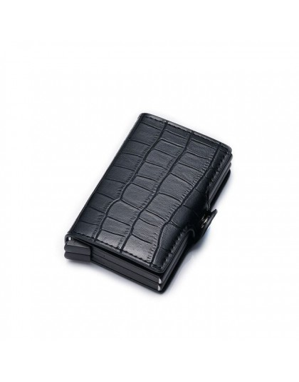Nowy futerał na karty RFID blokujący aluminiowy identyfikator firmy etui na karty kredytowe mężczyźni Slim podwójny portfel port
