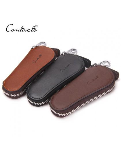 CONTACT'S mężczyźni oryginalna torba z bydlęcej skóry etui na klucze samochodowe moda kobiety etui dla gospodyni Carteira brelok