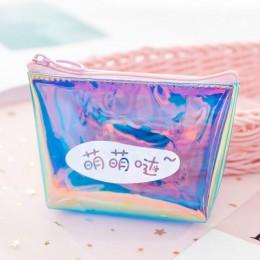 Laser mała portmonetka kobiety przezroczyste torebki i portfele z pcv dla dzieci dziewczyny śliczne jasne Rainbow Mini torebka m