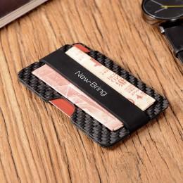 NewBring 100% prawdziwe kompaktowe włókna węglowego Mini klip na pieniądze karty kredytowej rękaw etui na dowód z RFID anti-złod