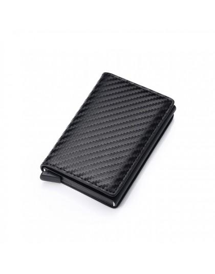 Karta rfid portfel na pieniądze skóra Metal mężczyźni Slim cienki portfel składany portfel mężczyzna kobiet portfel kieszonkowy