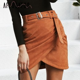 Affogatoo wysokiej talii zamszowe spódnice 2018 jesień zima pas ruched obcisła spódnica kobiety asymetryczne krótkie spódniczki