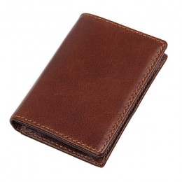 Unisex Vintage oryginalna krowa skórzany portfel profesjonalny uchwyt na wizytówki torebki RFID portmonetka Slim etui na karty R