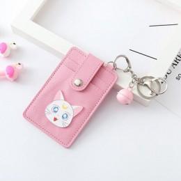 Kawaii różowy Sailor Moon PU skórzane etui na identyfikator karty torba kobiety Travel Bank Bus etui na karty kredytowe brelok p