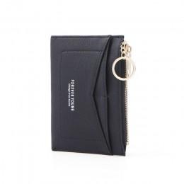WEICHEN Slim breloczek wizytownik kobiety skórzana torba mała karta portfele kobieta Organzier Mini etui na karty kredytowe Zipp