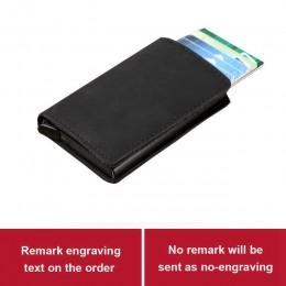 Grawerowanie laserowe etui do kart kredytowych dla mężczyzn blokowanie portfel rfid skóra Unisex informacje o bezpieczeństwie al