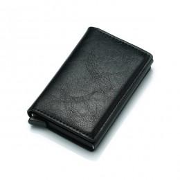 Cizicoco kradzież mężczyźni Vintage etui na karty kredytowe blokowanie portfel rfid PU skóra Unisex informacje o bezpieczeństwie