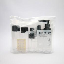 7 sztuk/zestaw Mini podróży makijaż kosmetyczny krem do twarzy butelki do garnka przezroczyste plastikowe akcesoria podróżne pus