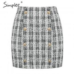 Simplee dwurzędowy tweedowy plaid damski spódnica prosta elegancka biurowa, damska krótka mini spódniczka Vintage jesienna spódn