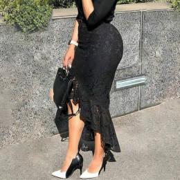 Kobiet czarny koronkowa spódniczka wysokiej talii slim, midi skromny eleganckie nieregularna długość kobiet pakiet Hip Jupes Fal