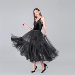 3 kolory 90 cm Runway luksusowe miękki tiul spódnica ręcznie robione Maxi długie plisowane spódnice kobiet w stylu Vintage halka