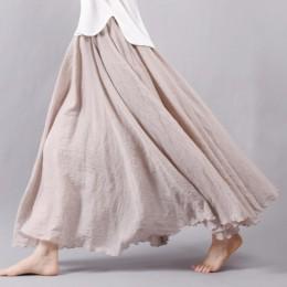 Damska elegancka wysokiej talii pościel długa spódnica 2018 letnie panie dorywczo w pasie 2 warstwy spódnice saia feminina 20 ko