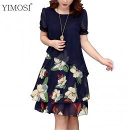 Lato szyfonowa sukienka 2019 dorywczo krótkim rękawem O-Neck Floral Print sukienki elegancka sukienka Plus Size sukienka 5XL kob