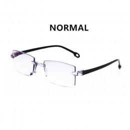 Mężczyźni kobiety Rimless okulary do czytania Bifocal daleko w pobliżu blokujące niebieskie światło powiększenie okulary okulary