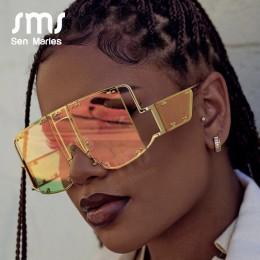 Fashion Square okulary przeciwsłoneczne damskie nowe ponadgabarytowe lustro mężczyźni odcienie okulary luksusowe marki metalowy