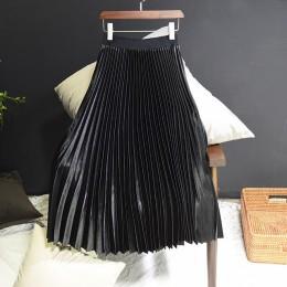 Sherhure 2019 jesień damskie długie spódnice moda marka linii kobiet plisowana spódnica wysokiej talii kobiet spódnica trzy czwa