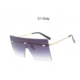 Ponadgabarytowe brązowe okulary 2019 kobiety Retro Vintage okulary luksusowa marka Rimless okulary óculos de sol feminino duże o
