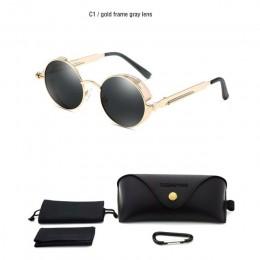 Klasyczne gotyckie okulary przeciwsłoneczne w stylu Steampunk spolaryzowane mężczyźni kobiety marka projektant Vintage okrągła m