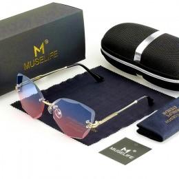 MUSELIFE DESIGN Fashion Lady okulary przeciwsłoneczne 2020 Rimless damskie okulary przeciwsłoneczne Vintage oprawki ze stopu kla
