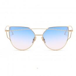 ZUCZUG okulary przeciwsłoneczne damskie luksusowe kocie oko marka projekt lustro płaskie różowe złoto Vintage Cateye modne okula