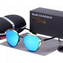BARCUR luksusowe spolaryzowane okulary przeciwsłoneczne damskie okrągłe słońce okulary damskie luneta de soleil femme
