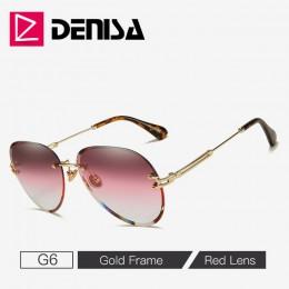 DENISA modne niebieskie okulary przeciwsłoneczne bezramkowe damskie 2019 UV400 luksusowe okulary przeciwsłoneczne damskie okular