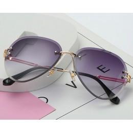 2019 nowy projekt marki Vintage Rimless Pilot okulary kobiety mężczyźni Retro cięcia soczewki gradientu dla kobiet UV400