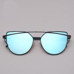 LeonLion marka projektant okulary przeciwsłoneczne cat eye kobiety Vintage metalowe okulary odblaskowe dla kobiet lustro Retro ó