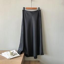 Garemay Midi Maxi długie wysokie talie satynowa spódnica kobiety elegancka jedwabna linia jednokolorowa klasyczna Ol damskie let