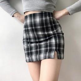 2020NEW moda 8 kolory lato jesień Plaid Sexy fioletowy Korea podział ubrania w stylu Harajuku spódnice kobiet Mini spódnica Kawa