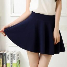Liva Girl wysokiej talii elastyczna krótka spódniczka z spodnie ochronne kobiety Casual-line plisowana spódnica Harajuku Kawaii