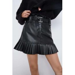 2019 jesienno-zimowa Pu skórzane spódnice wysokiej talii plisowana Hem krótka spódniczka pas biodrowy panie Faldas