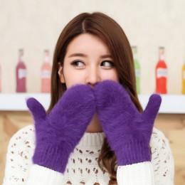 Wesołych świąt prezenty zimowe rękawiczki damskie rękawiczki z futra królika miękkie rękawice nadgarstka ciepłe rękawiczki Luvas