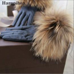 2019 nowy prawdziwy szop futrzane rękawice skórzane damskie rękawiczki moda luksusowe duże futro szopa kożuch oryginalne skórzan