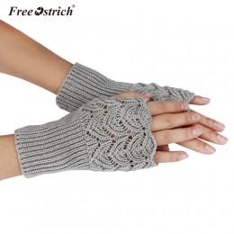 Darmowe rękawiczki strusia 2019 dziewczyna Lady damskie ciepłe zimowe krótkie pkt Knitting pół palca kształt serca dziergana ręk