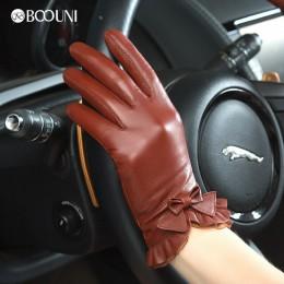 BOOUNI oryginalne rękawice z owczej skóry 2020 moda nadgarstek opaska dziecięca stałe kobiety skórzane rękawiczki termiczne zimo