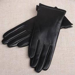 Gours damskie oryginalne skórzane rękawiczki czarne klasyczne kożuchy rękawiczki do ekranu dotykowego zimowe grube ciepła moda r