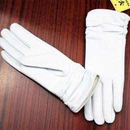 Rękawice skórzane rękawice z owczej skóry białe modelki elastyczne cienkie kaszmirowe podszewka weatherization armband zestawy d