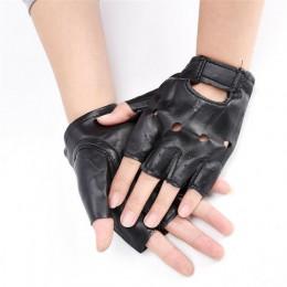1 para kobiety moda PU skóra czarne pół palca rękawiczki fajne niewypełnione serce rękawiczki bez palców chłopiec rękawiczki dla