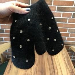 Moda kobiety dziewczyna zimowe rękawiczki Pure Color Rhineston królik futrzane mitenki miękkie ciepłe cukierki kolor dwuwarstwow
