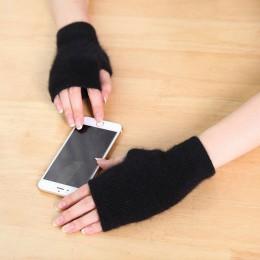 2019 norek z kaszmiru jesienne zimowe rękawiczki pół palca ciepła wełna rękawy nadgarstkowe mają otwór na palec odsłoniętym palc