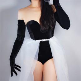 Aksamitne rękawiczki 70cm bardzo długi czarny Opera kobiet wysoki elastyczny łabędź welur złoty aksamitny ekran dotykowy kobiety