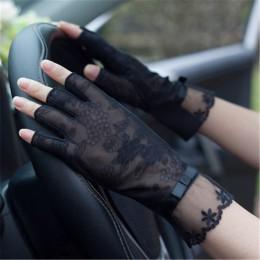 Pół palca koronkowe rękawice przeciwsłoneczne damskie lato lodowy jedwab pół palce antypoślizgowe jazdy cienkie anty-uv moda kob