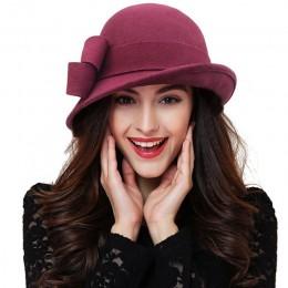 Kobiety party formalne nakrycia głowy lady winter fashion asymetryczne bowknot 100% wełniane kapelusze filcowe