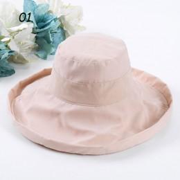 Sparsil kobiety kapelusz słońce modne Super szeroki rondo krotnie kapelusz wędkarski Fedoras plaża ślub lato Solid Color Floppy