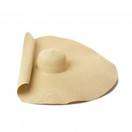 Super większe rondo szerokie kapelusze słomkowe dla kobiet składany papier kapelusz na plażę letnie słońce kapelusze UV etap Cap