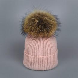 2018 naturalne pompon z futra szopa kapelusz grube zimowe dla kobiet czapka czapki beanie dzianina kaszmirowa czapki wełniane ko