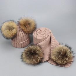 Jesienno-zimowa rodzic-dziecko futrzany pompon kapelusz i zestaw szalików kobiety szydełkowe dzianiny wełniane czapki czapki cza