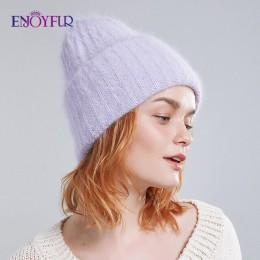 ENJOYFUR zimowe futra królika włosy kapelusze dla kobiet podwójna podszewka ciepłe kobiece modne czapki młodzieżowe damskie czap